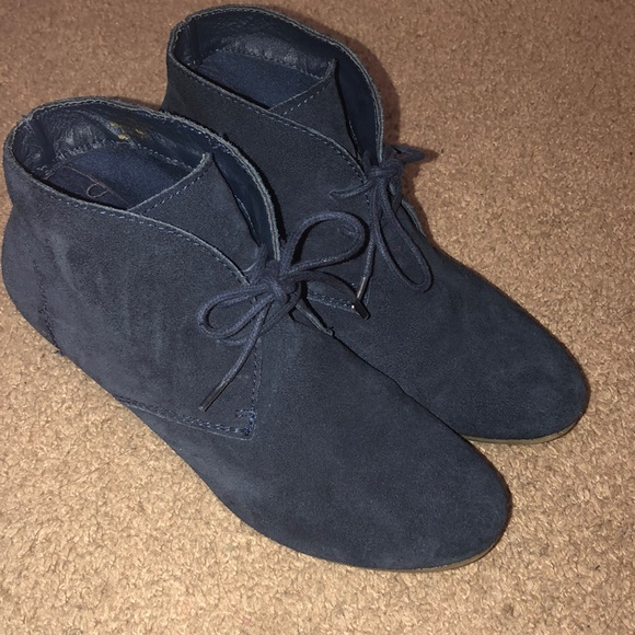 Navy wedge ankle booties